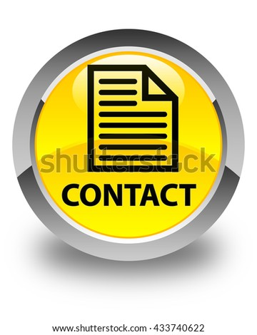 Contact (page icon) glossy yellow round button - stock photo
