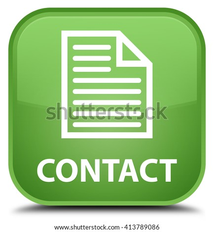 Contact (page icon) soft green square button - stock photo