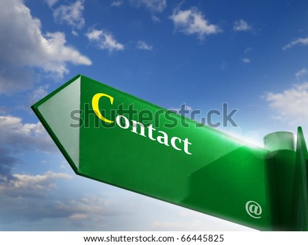 Contact road sign - stock photo