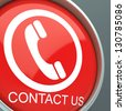 Contact Us Button Shows Helpdesk And Customer Service - stock photo