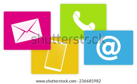 contact us colored fresh design icons - stock photo