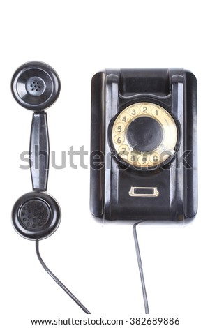 contact us concept rotary phone isolated on white background - stock photo