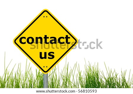 contact us concept with a traffic marker in yellow - stock photo