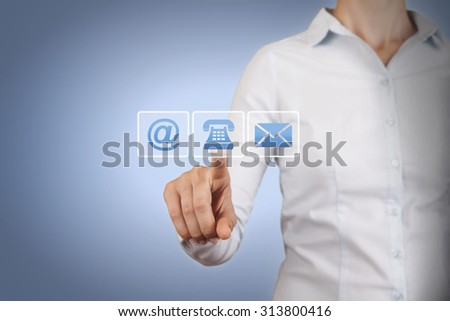 Contact Us Concepts on Touch Screen - stock photo