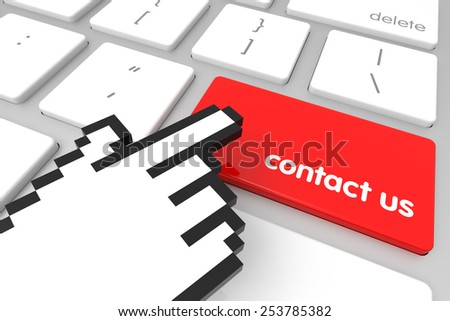 Contact Us enter key with hand cursor. 3D rendering - stock photo