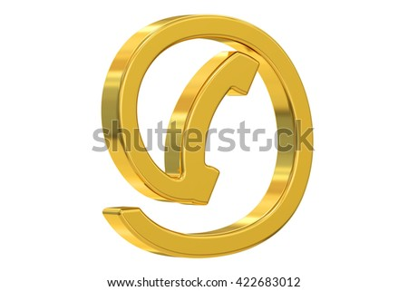 contact us golden symbol, 3D rendering  isolated on white background