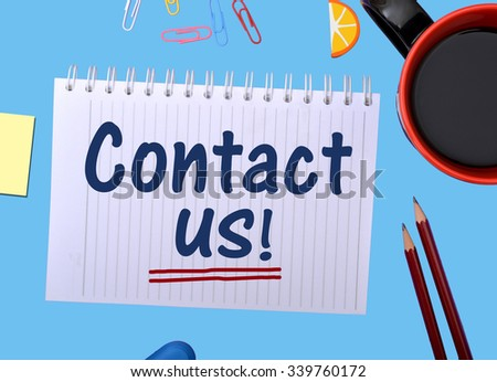 Contact us graphics on Notepad with Stationery