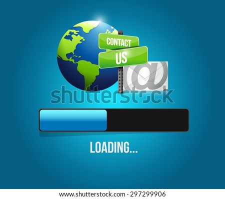 contact us mail loading bar sign illustration design over white - stock photo