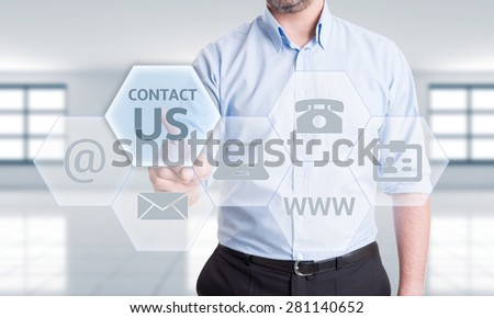 Contact us options or get in touch with us or our company concept - stock photo