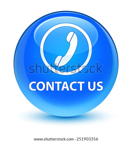 Contact us (phone icon) glassy blue button