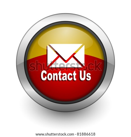 contact us red and yellow aqua button - stock photo