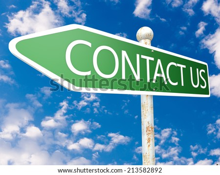 Contact us - street sign illustration in front of blue sky with clouds. - stock photo