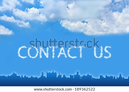 Contact us text on cloud with blue sky - stock photo
