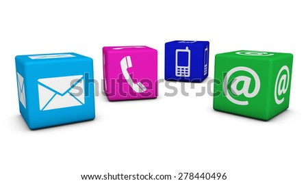 Contact us web and Internet concept with email, mobile phone and at icons and symbol on four colorful cubes for website, blog and on line business. - stock photo