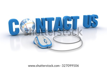 CONTACT US Word with Globe Earth and Computer Mouse - High Quality 3D Render - stock photo