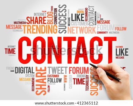 Contact word cloud, business concept - stock photo