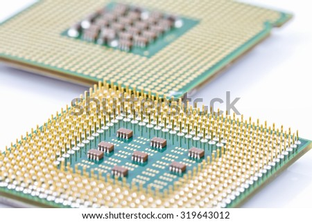 Contacts old computer CPU close up - stock photo