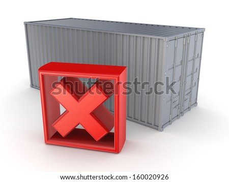 Container and red cross mark.Isolated on white.3d rendered. - stock photo