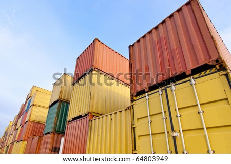 Container area in close up, u can see more detail of its - stock photo
