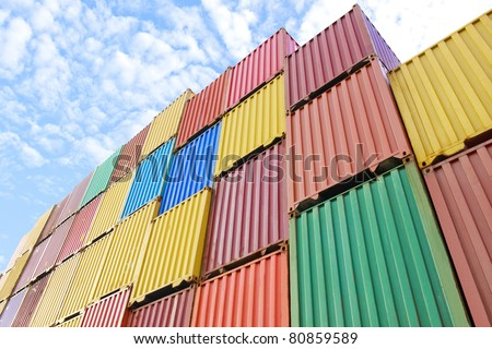 Container area show too much colorful of its - stock photo