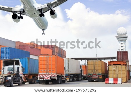 Container at the Dock with Truck  - stock photo