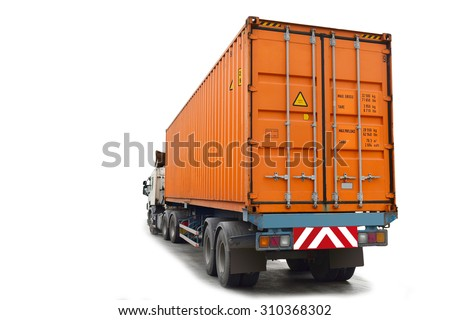 Container at the Dock with Truck isolated on white background. This has clipping path. - stock photo