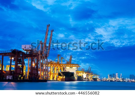 Container Cargo in twilight time, Industry background useful