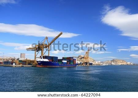 Container cargo ship - stock photo