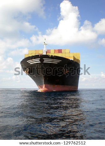 Container Cargo Ship at sea - stock photo