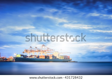 Container Cargo ship in the Trade Port, Shipping, Transportation, Logistic Import Export background.