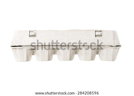 container for eggs on white background - stock photo
