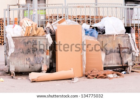 Container full of diverse garbage - stock photo