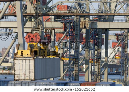 Container harbor in Rotterdam, Netherlands - stock photo