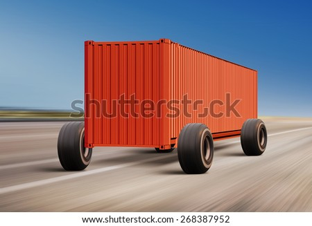 container moving on road, cargo transportation - stock photo