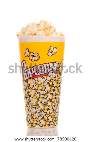 Container of delicious movie popcorn on white - stock photo