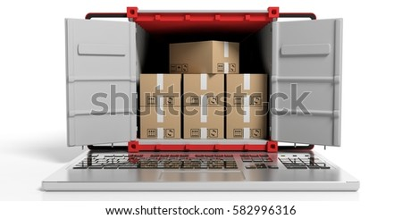 Container on a keyboard on white background. 3d illustration