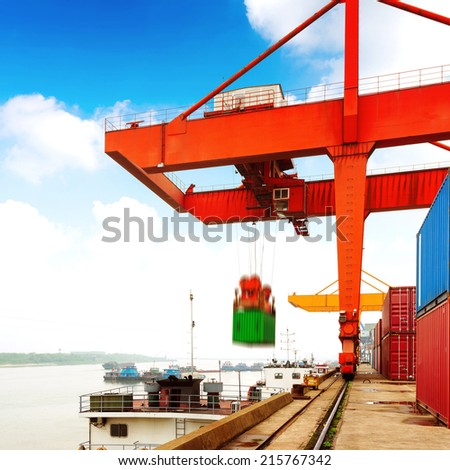 Container operation in the port. - stock photo