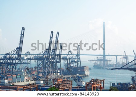 container pier and highway - stock photo