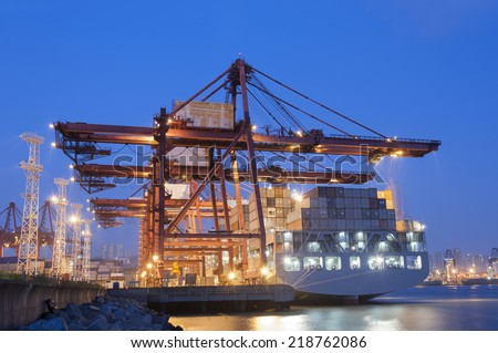 Container Port at dusk - stock photo