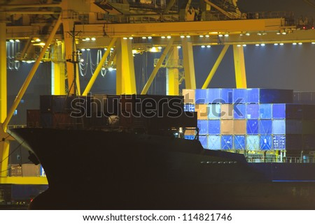container port terminal, sunrise - catchy colors - stock photo
