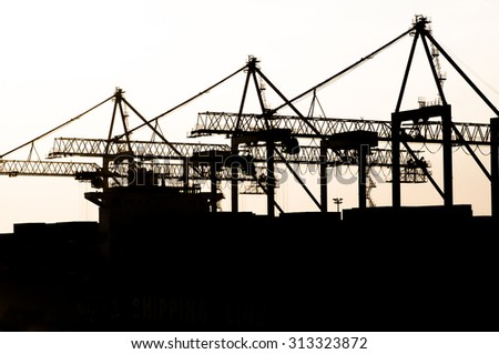 Container Ship at Port-Cargo ship in the harbor - stock photo