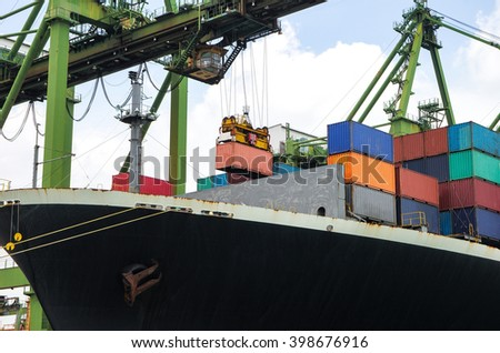 container ship berthing for import and export container box in port - stock photo