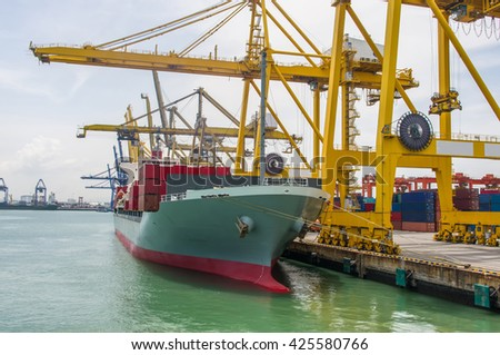 container ship berthing for import and export container box in port. - stock photo