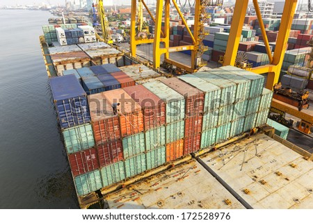 Container ship berthing port  - stock photo