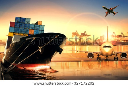 container ship in import export port and use for freight cargo ,logistic business theme - stock photo