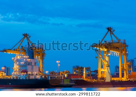 Container ship in the harbor, Twilight shot. - stock photo