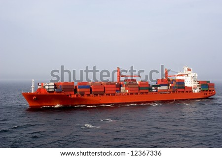 Container ship loaded with cargo