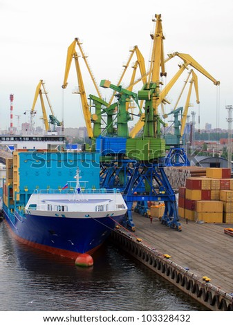 Container Ship Loading - stock photo