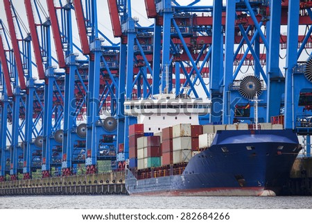 Container ship moored in Hamburg, Germany - stock photo