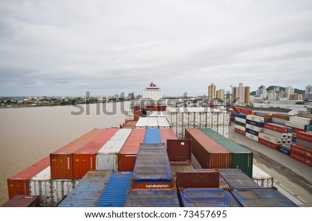 container ship moored in port, Brazil, Port of Itajai - stock photo